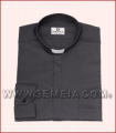 Camicia clergy ML F/File cot. 100% nero 48/49/50